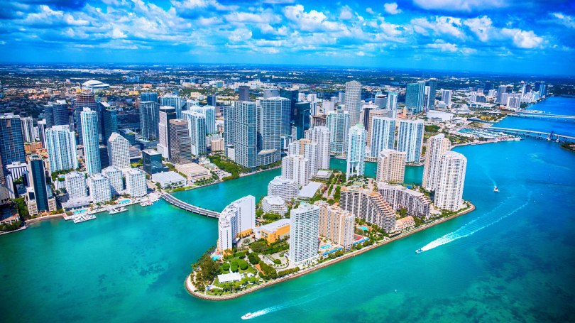 Aerial View of Downtown Miami Florida